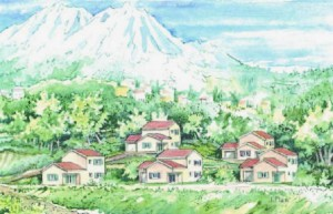 Esquisse du projet de 5 villas en construction à Vialas